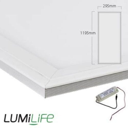 40W LED Panel - 295x1195mm - Daylight - Optional Dimmable Driver and Bracket