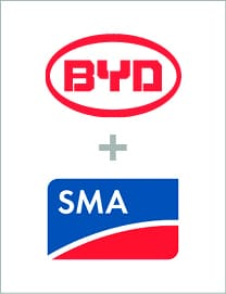 BYD and SMA battery storage package logo