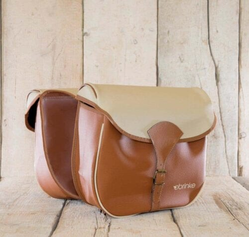 Brinke PARIS rack bag in faux leather light-brown and cream 2