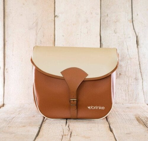 Brinke PARIS rack bag in faux leather light-brown and cream