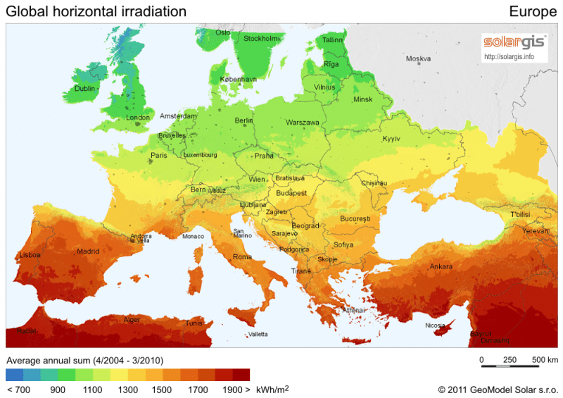 European solar irradiation map annual data in kWh/m2