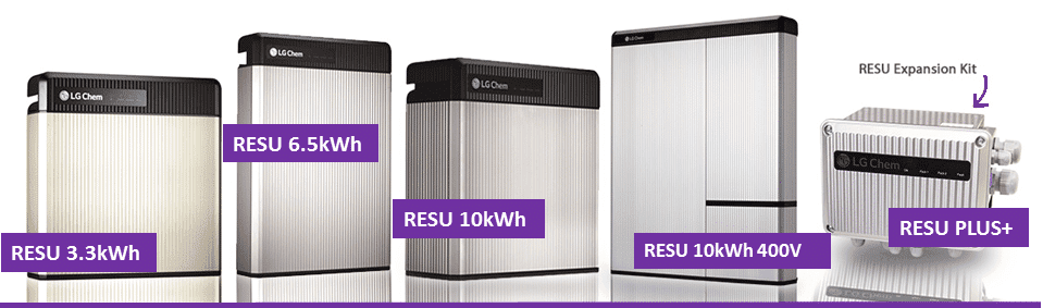 LG RESU Battery Storage Product Range on zerohomebills.com by solaranna