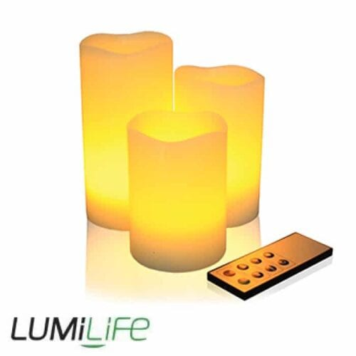 Real Wax LED Candle Set with Remote Control - Melted Edges - Multi Effects